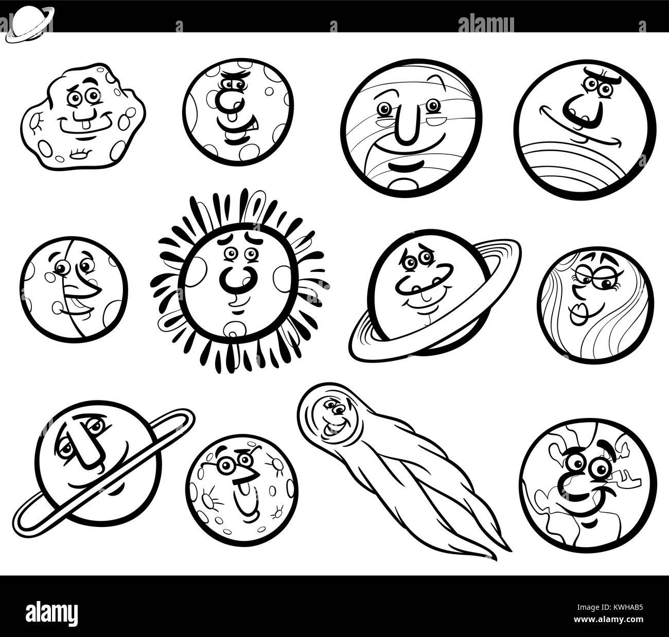 Bianco E Nero Cartoon Illustrazione Di Divertenti Orbs E Dei Pianeti