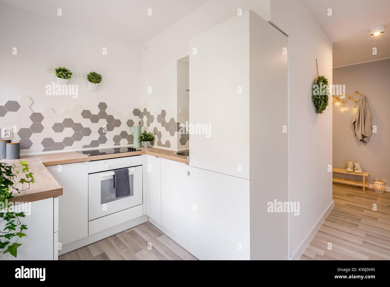 Accogliente appartamento con piccola cucina bianca e grigia mudroom ...