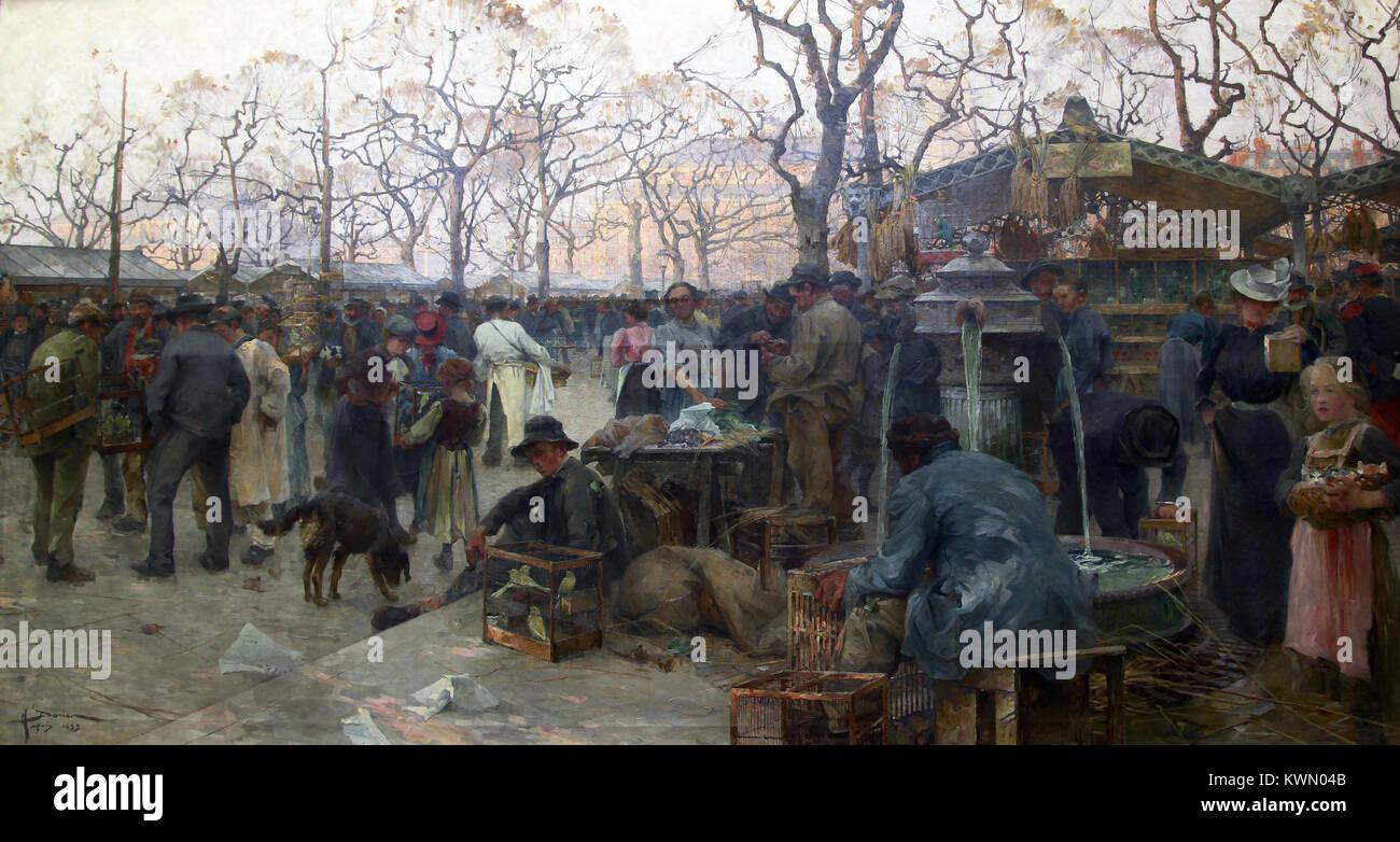 Mercato di uccelli / Le Marché aux Oiseaux 1899 da Henry Gaston Darien 1864-1926 Immagini Stock