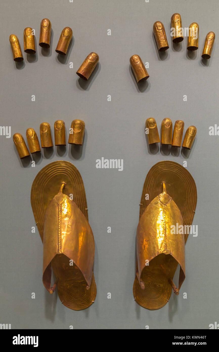 I corredi funerari appartenenti a tre mogli straniere di Thutmosi III, Metropolitan Museum of Art, Manhattan, New Immagini Stock