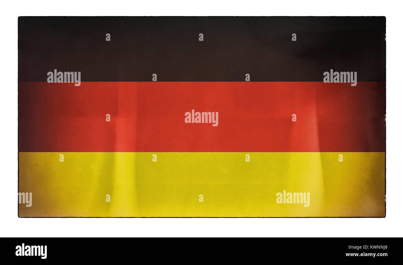 Un vecchio addolorato bandiera tedesca Immagini Stock