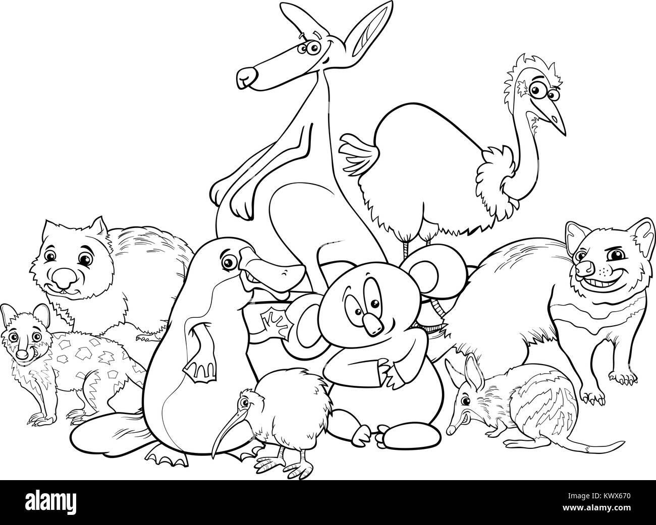 Bianco E Nero Cartoon Illustrazioni Di Animali Australiani Gruppo