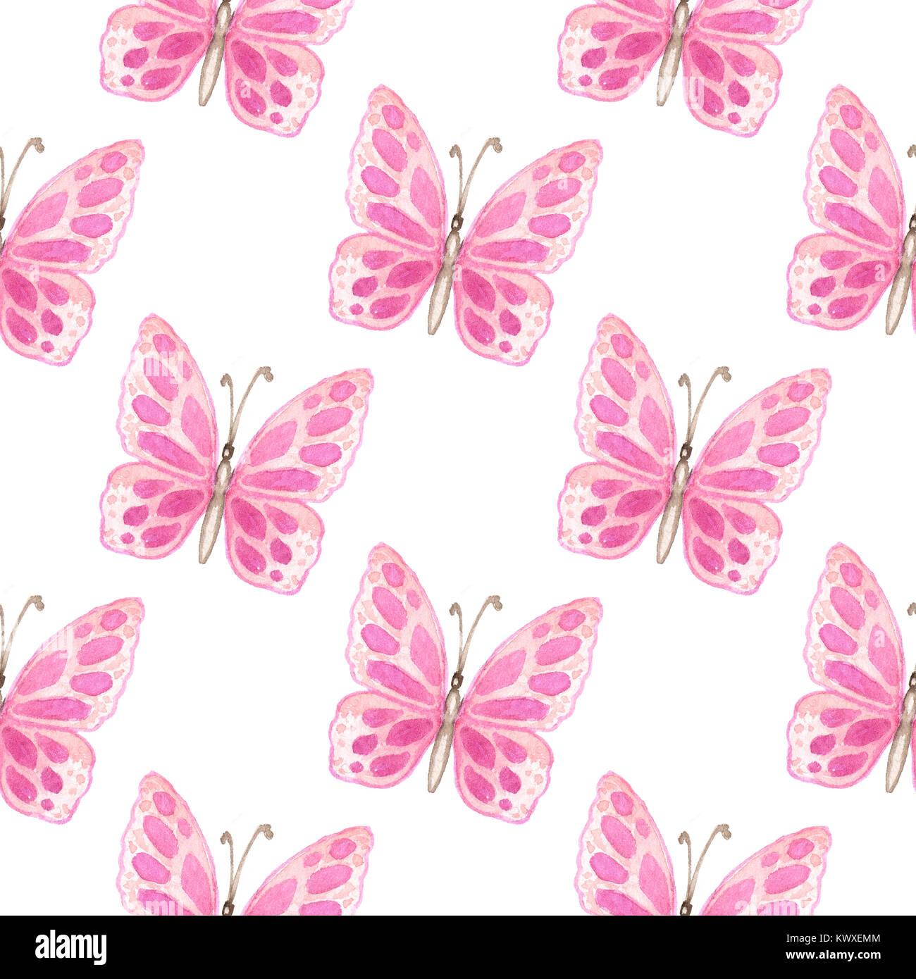 Disegnata A Mano Ad Acquerello Modello Senza Cuciture Con Farfalle