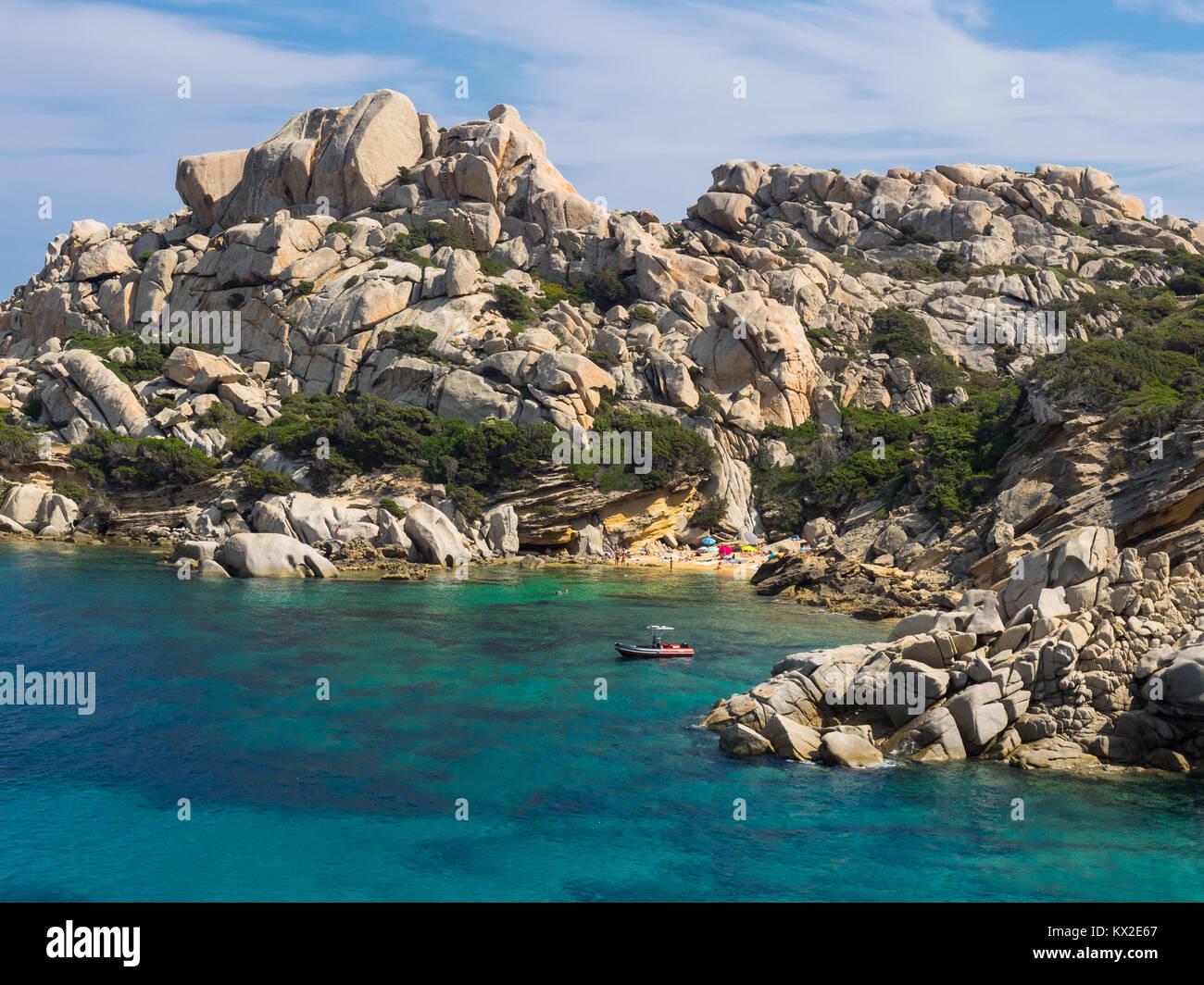 Spiaggia di nascosto a Capo Testa, Sardegna Immagini Stock