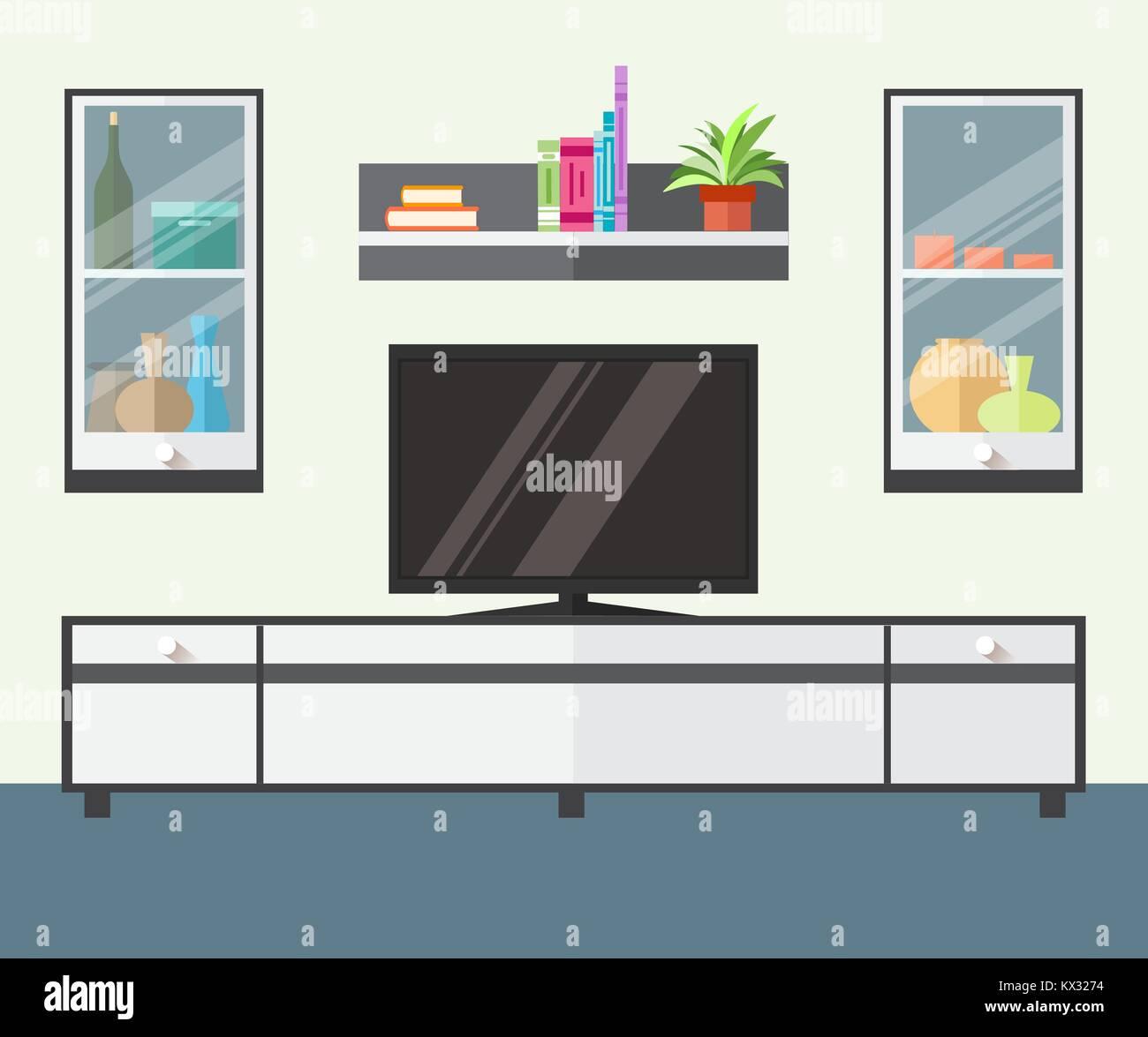 Progettazione zona TV in un appartamento di stile. Interno soggiorno ...