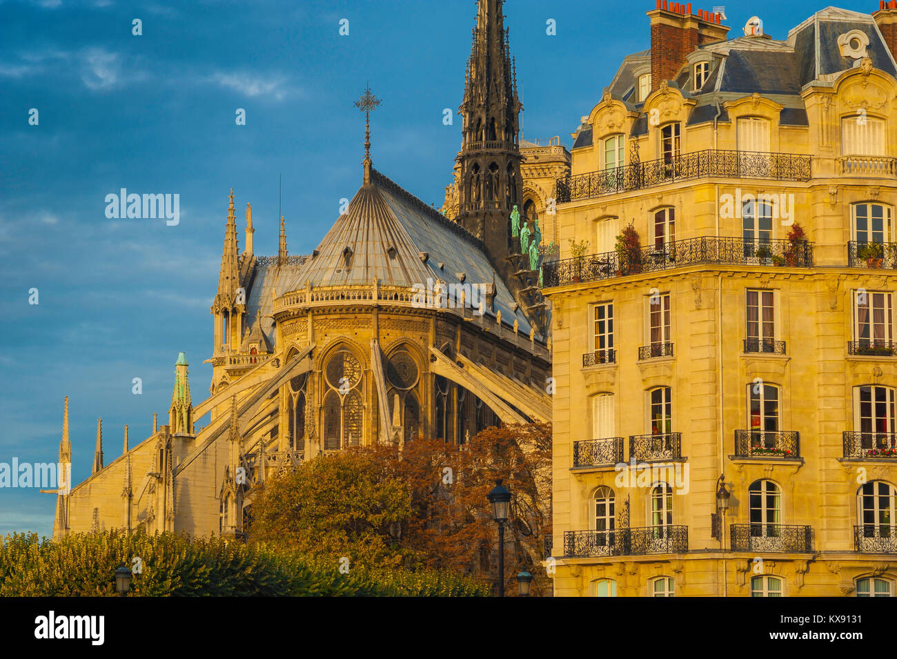 Architettura di Parigi, l'estremità est della cattedrale di Notre Dame a fianco di un tipico del XIX secolo Immagini Stock