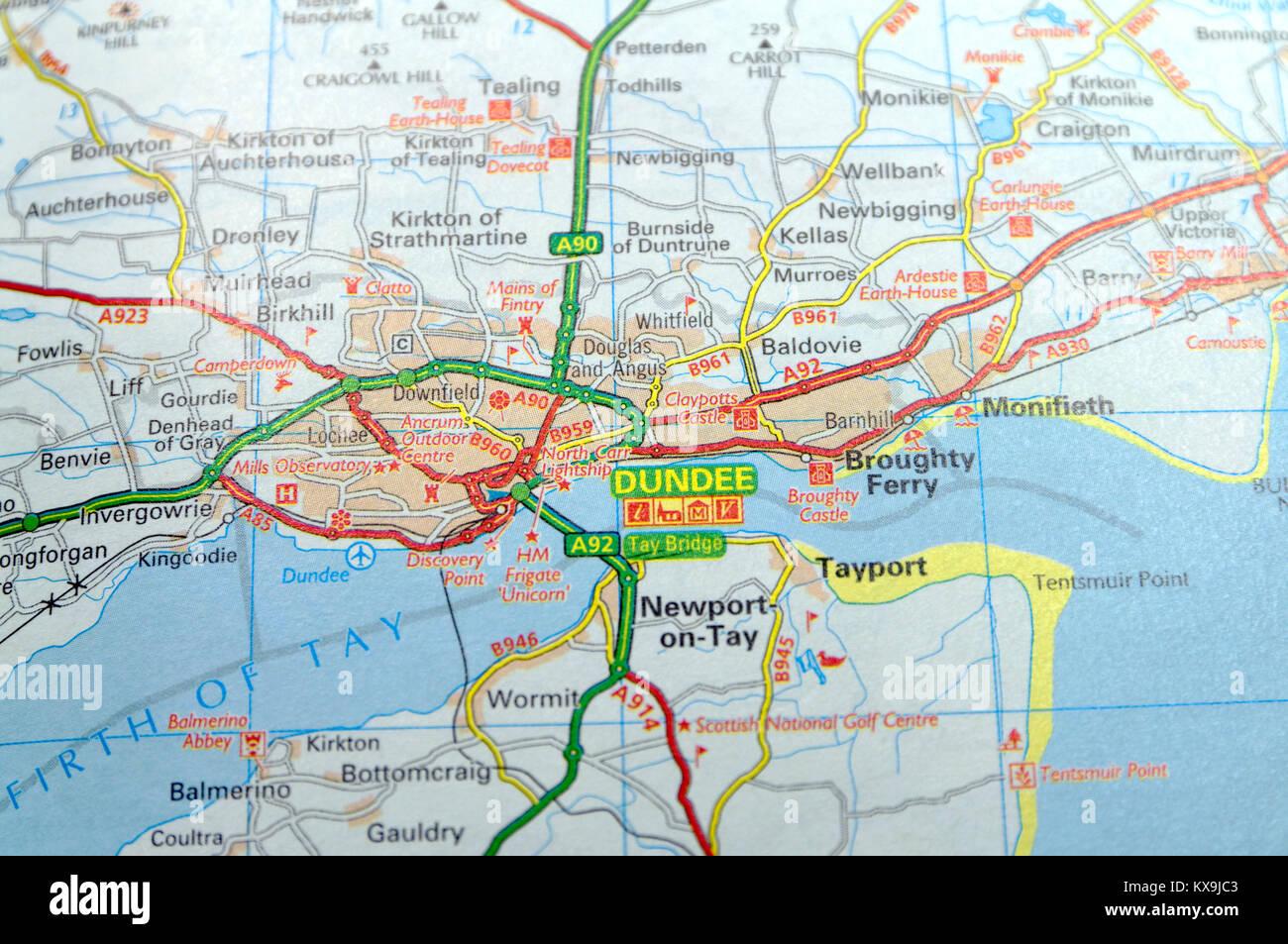 Scozia Cartina Dettagliata.Mappa Stradale Della Scozia Foto Stock Alamy