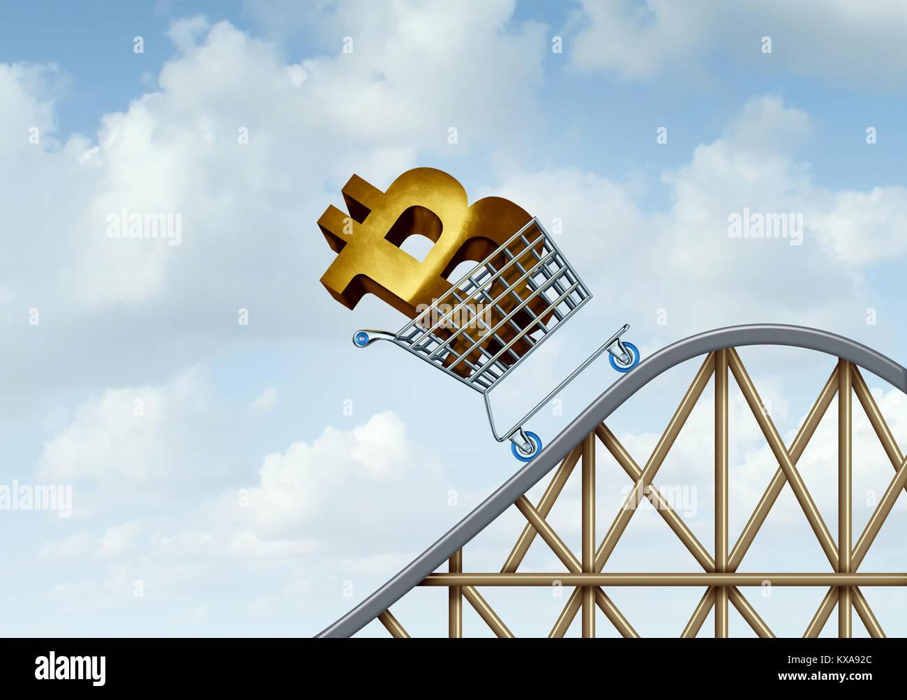 Bitcoin rise e cryptocurrency incertezza e digital crypto moneta come financial roller coaster ride simboli come Immagini Stock