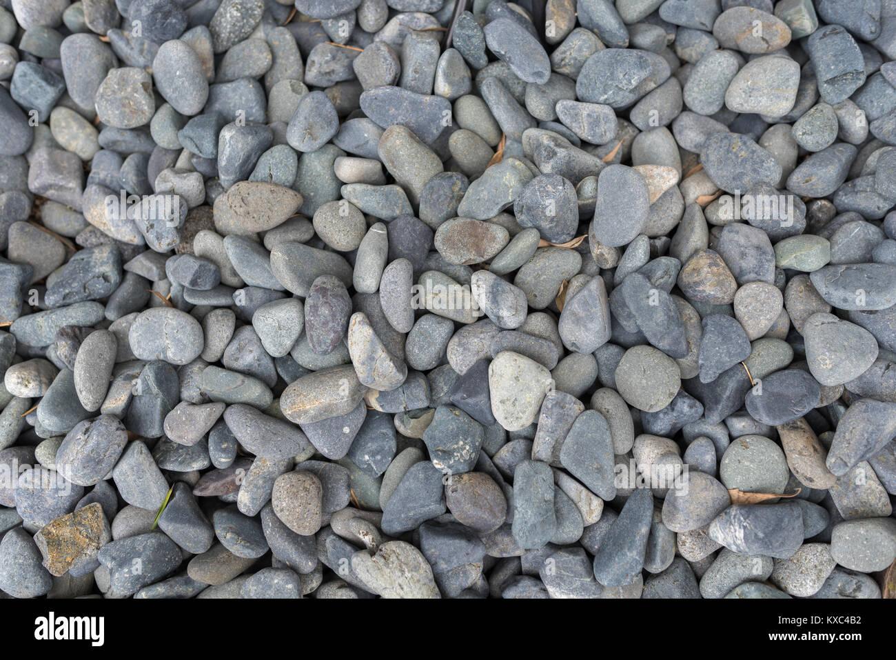 Grigio pietra di fiume ciottoli su terra per giardino decorativo