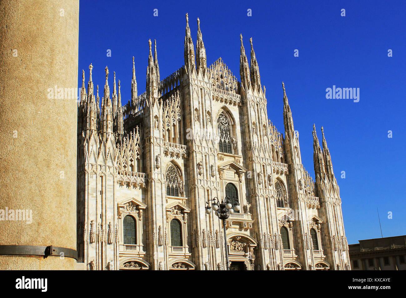 Il Duomo di Milano o il Duomo di Milano è la cattedrale gotica Chiesa di Milano, Italia Immagini Stock