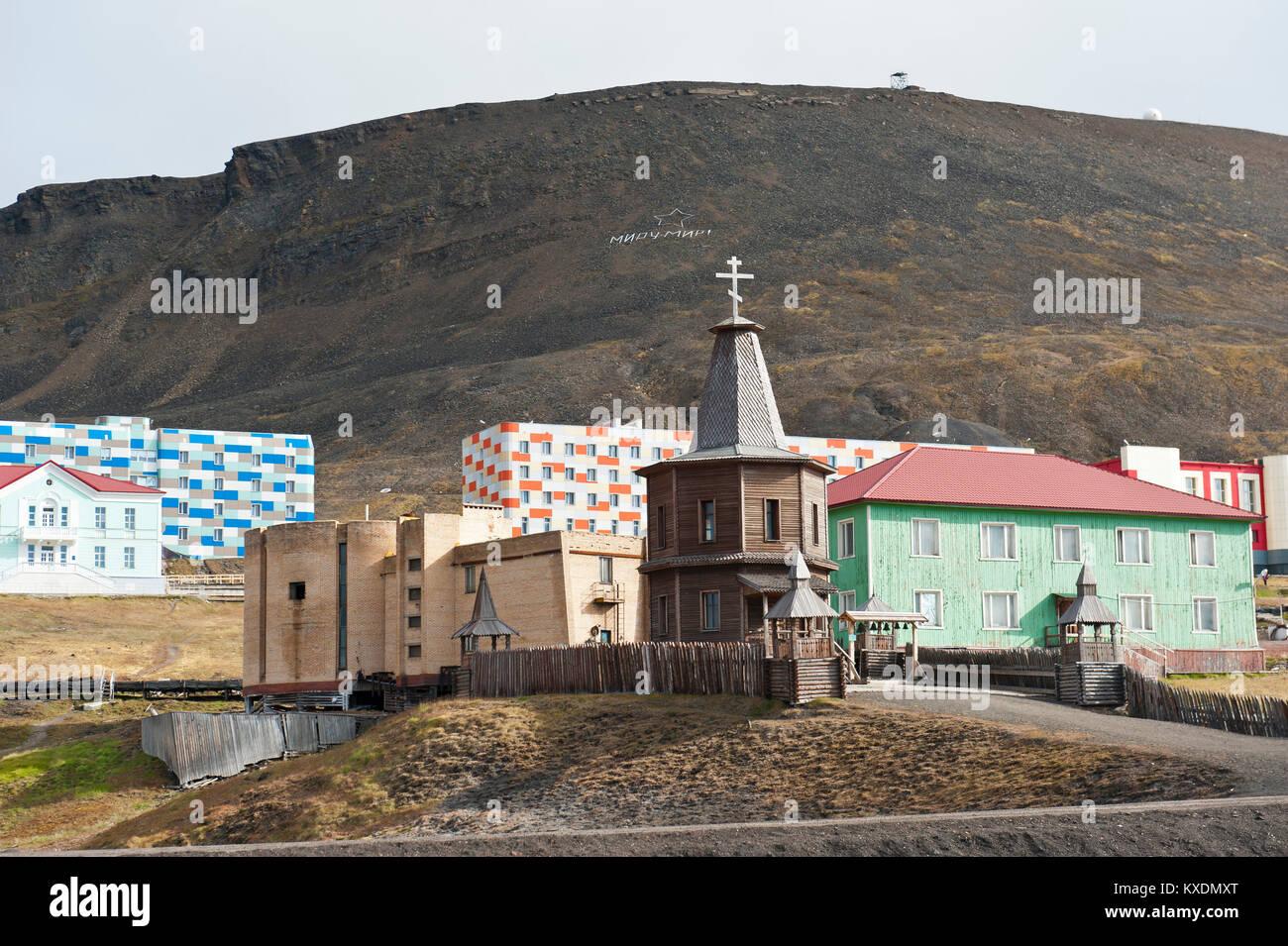 Il cristianesimo della Chiesa Ortodossa Russa, cappella di legno, Russo insediamento minerario Barentsburg, Spitsbergen, Immagini Stock