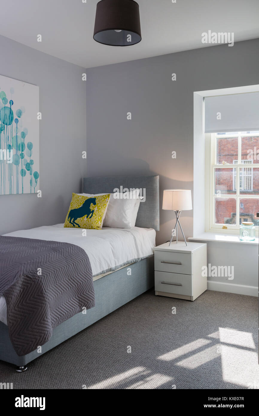 Moderno, pulito ed elegante camera da letto singolo Foto & Immagine ...