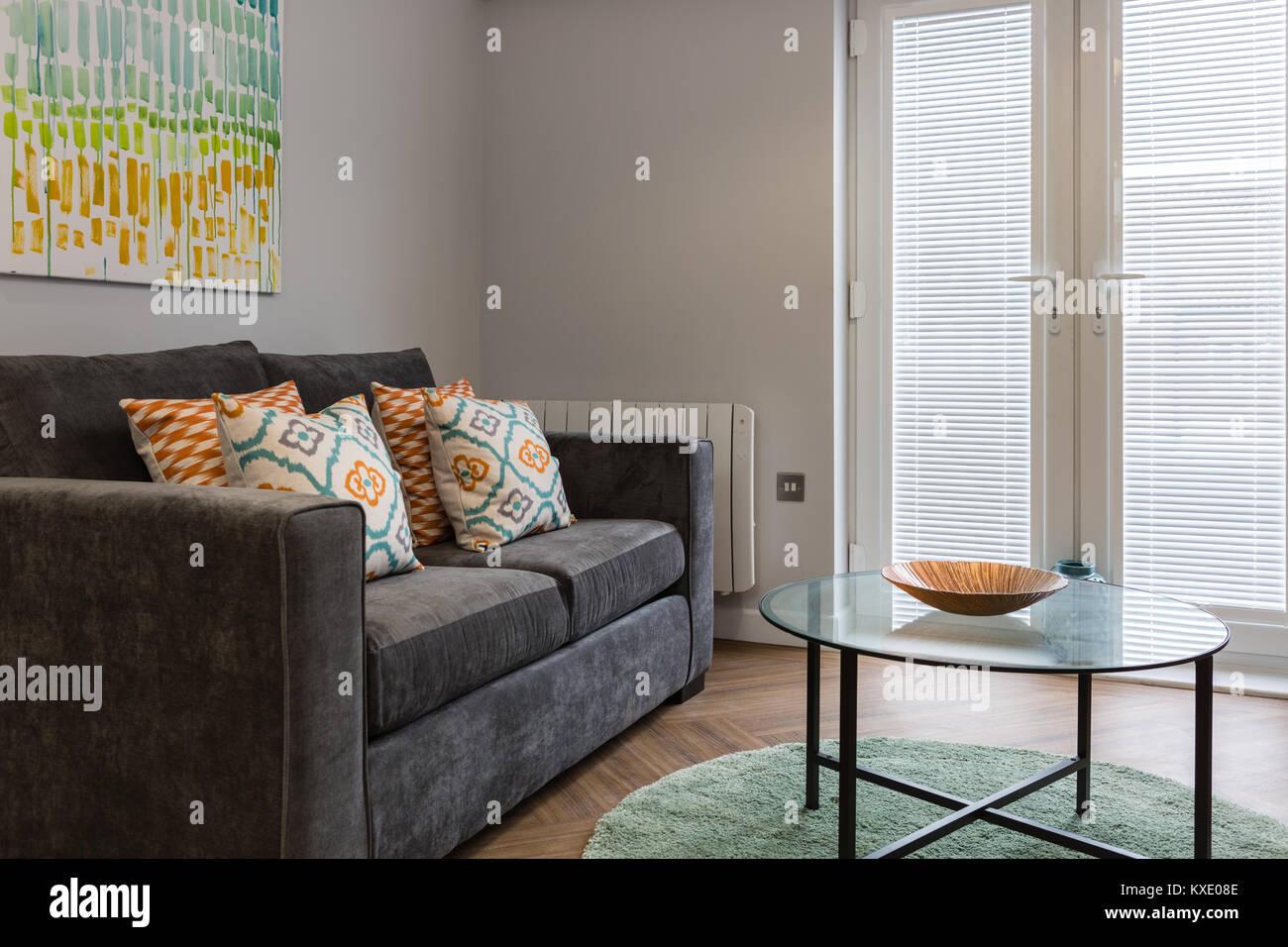 Elegante e moderno con spazio soggiorno con divano grigio unità e ...