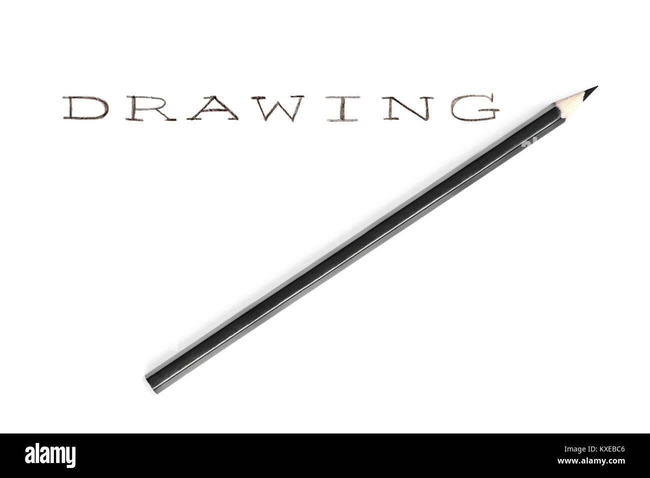 Scritta a mano con una matita disegno di parola, isolato su sfondo bianco Foto Stock