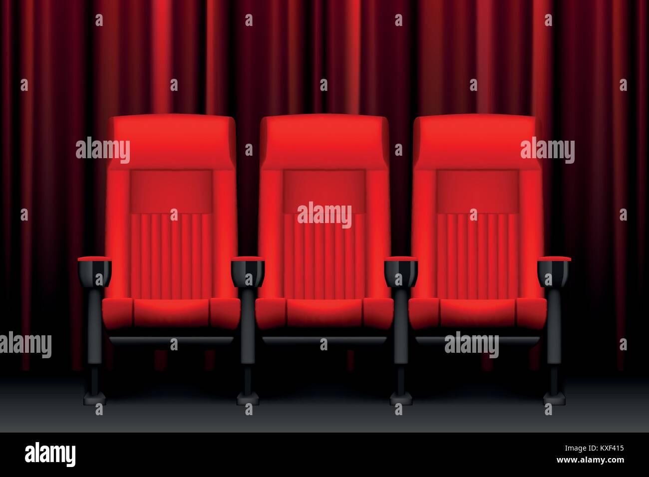Teatro Le Sedie.Mostra Del Cinema Di Design Con Red Sedi Vuote Poster Per