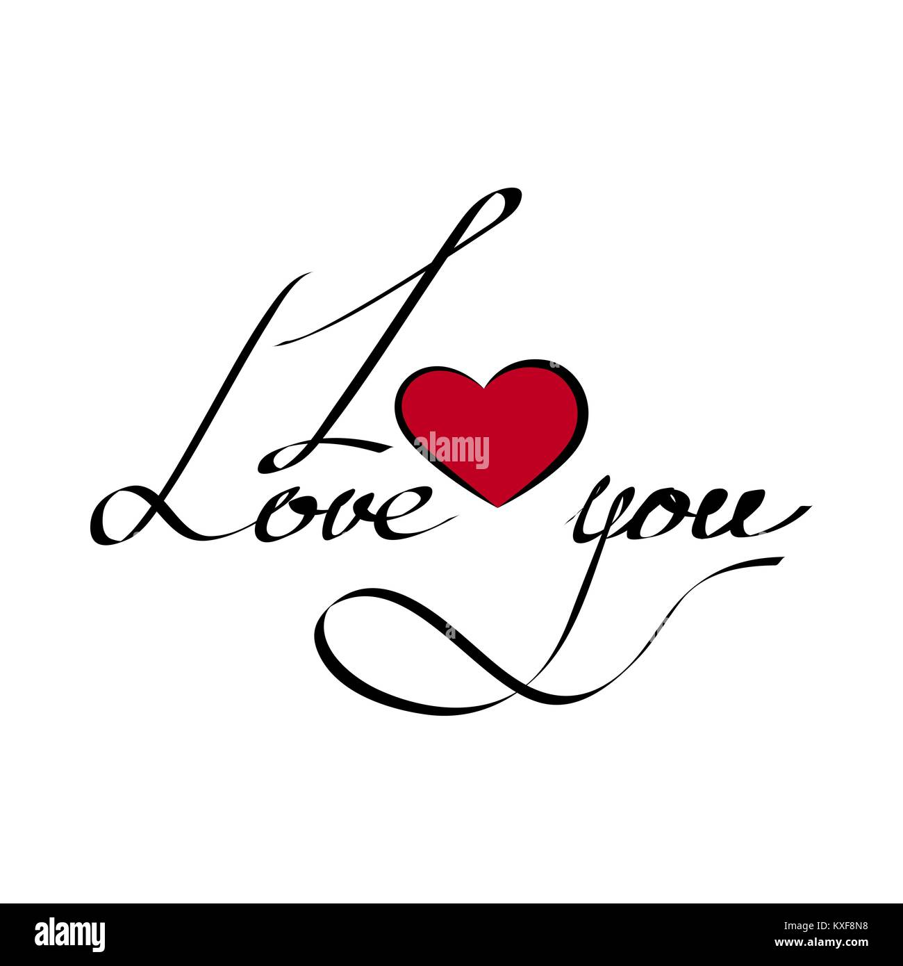 La Grafia Ti Amo Con Un Cuore Su Uno Sfondo Bianco Lettering