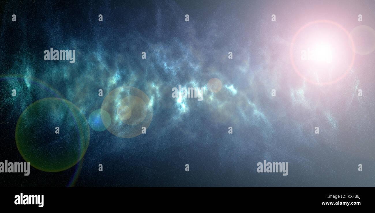 Space nebula galaxy stelle. Universo blu sullo sfondo Immagini Stock