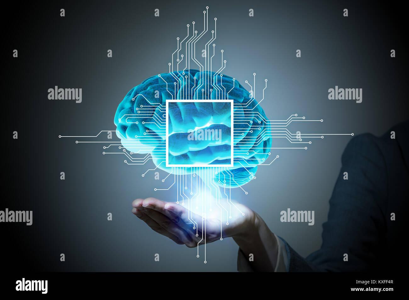 AI(Artificial Intelligence) concetto, rendering 3D, immagine astratta visual Immagini Stock