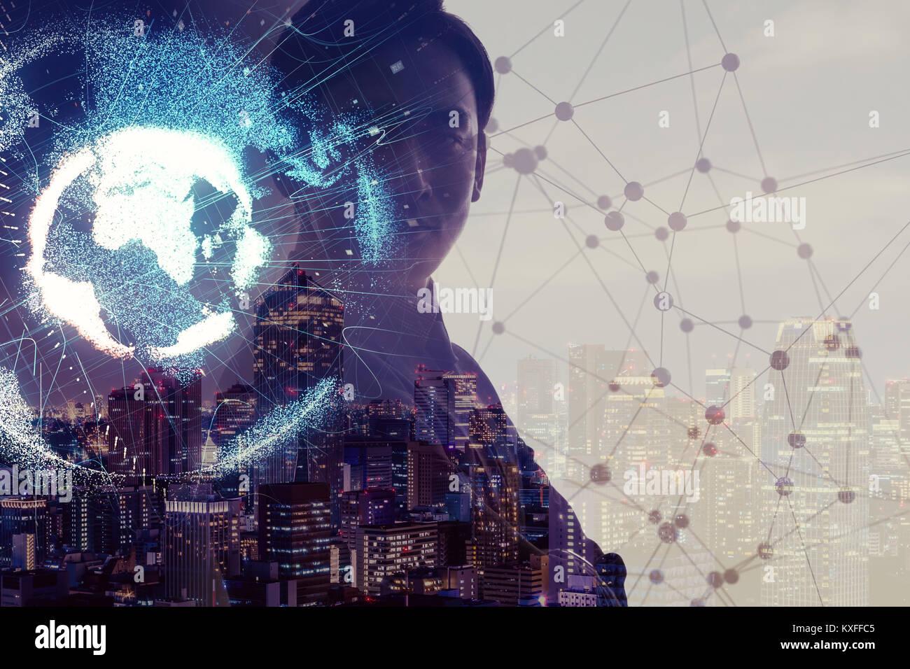 Rete globale del concetto. Internet delle cose. Intelligenza artificiale. Immagini Stock
