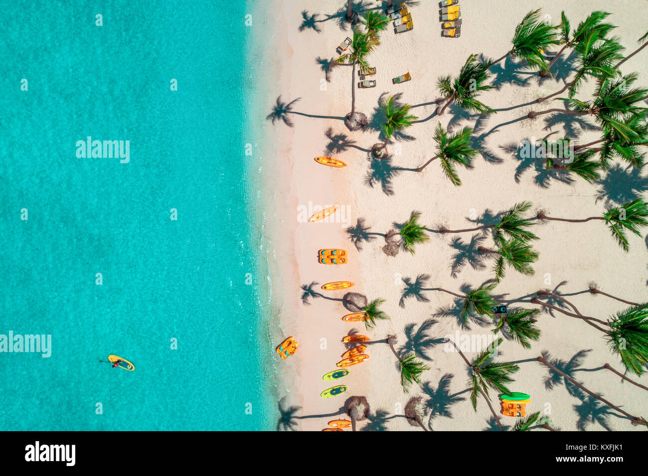 Vista aerea del resort caraibico, Bavaro, Repubblica Dominicana Immagini Stock