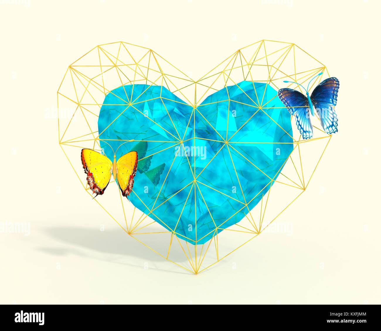 Cuore Astratto In Bassa Poli Stile Con Luce Rosa E Farfalle Blu Su