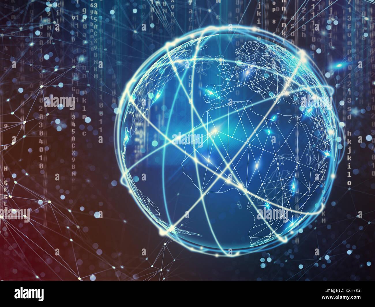 Concetto di internet globale della rete di connessione Immagini Stock