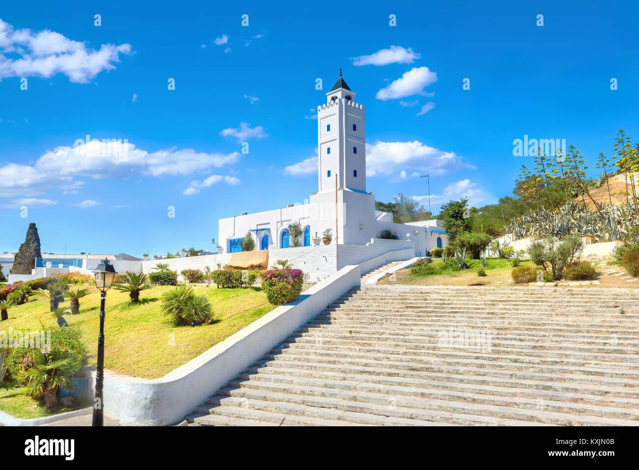 Vista della Moschea Bianca di Sidi Bou Said village. La Tunisia, Nord Africa Immagini Stock