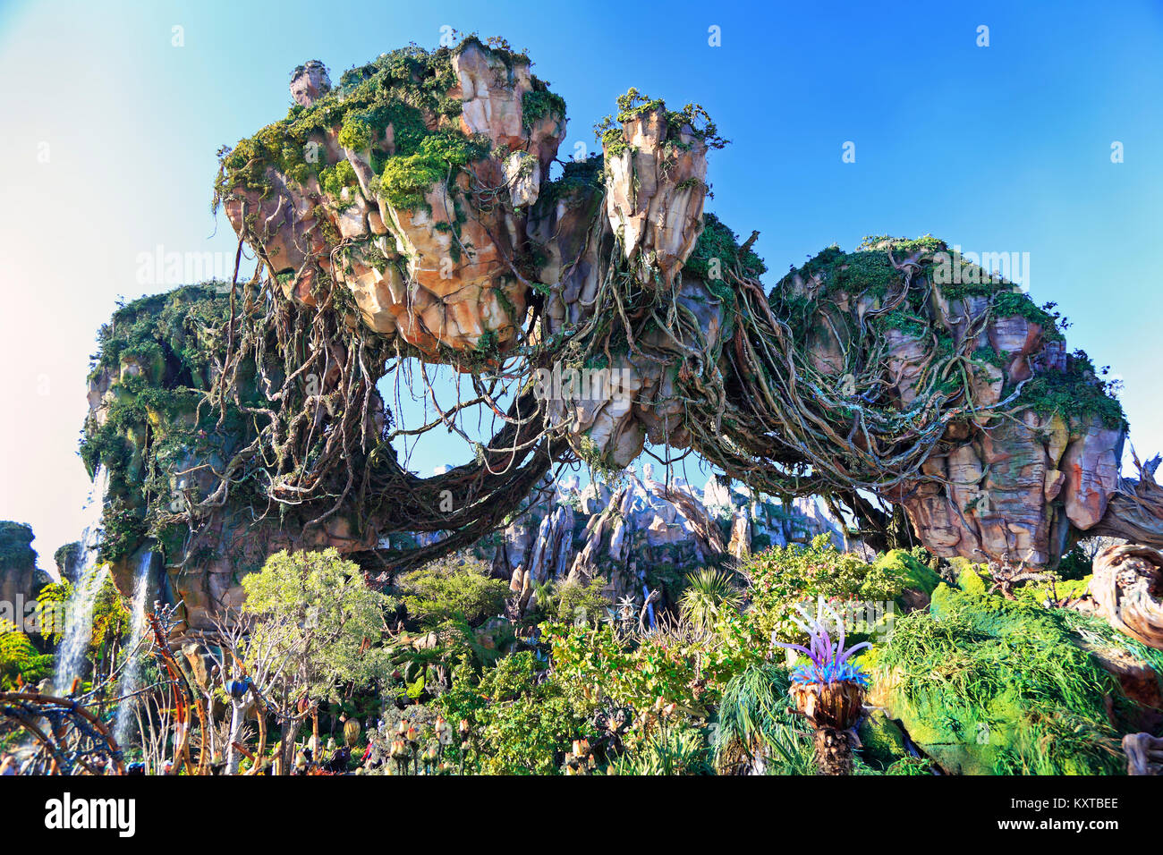 Montagne flottante in Pandora, Avatar Land, Regno Animale, Walt Disney World, a Orlando, Florida Immagini Stock