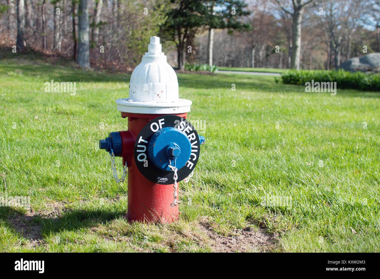 Fuori Servizio idrante di fuoco con colori rosso, bianco e blu di erba Immagini Stock