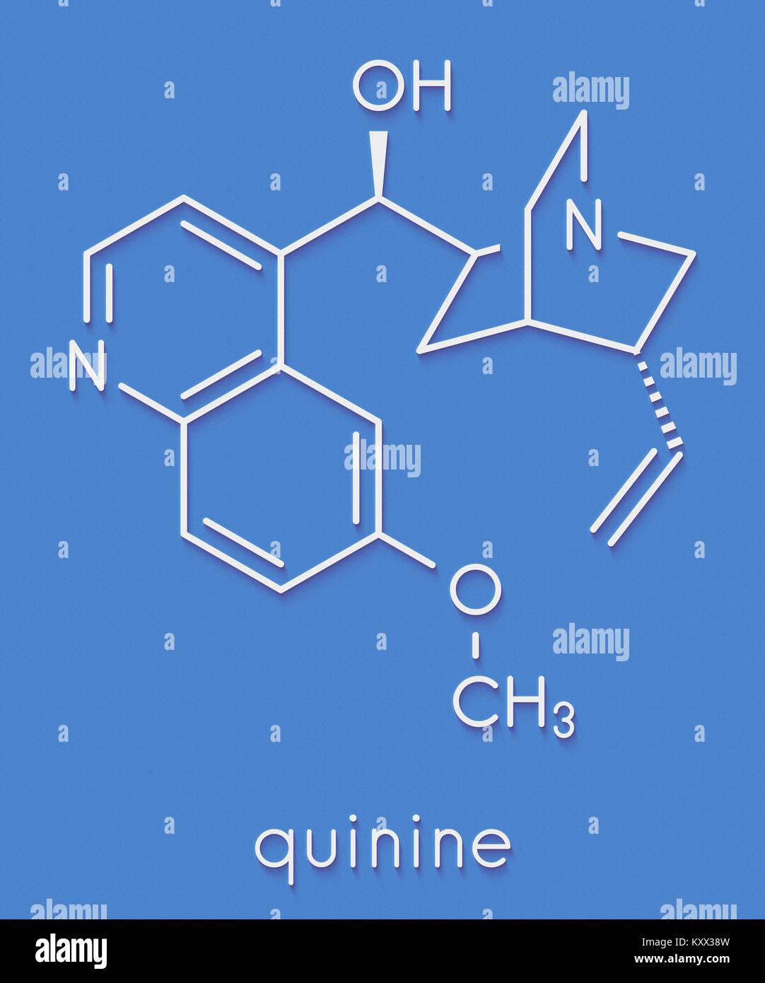 La chinina malaria molecola di farmaco. Isolato dal china corteccia di albero. Formula di scheletro. Immagini Stock