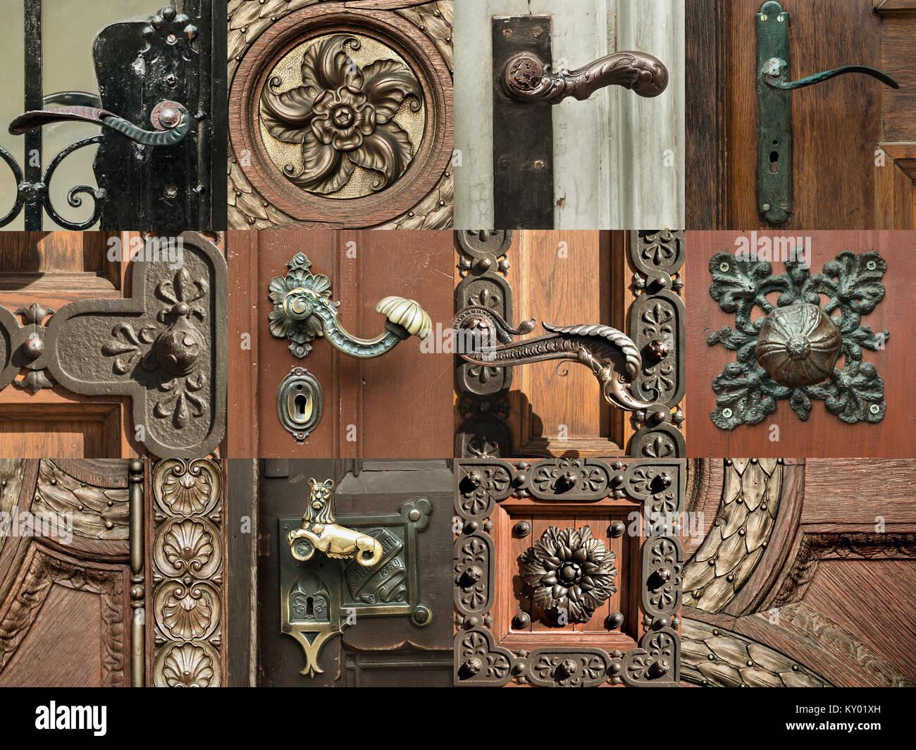 Foto Di Porte Antiche vintage ornati di decorazioni su porte antiche in budapest