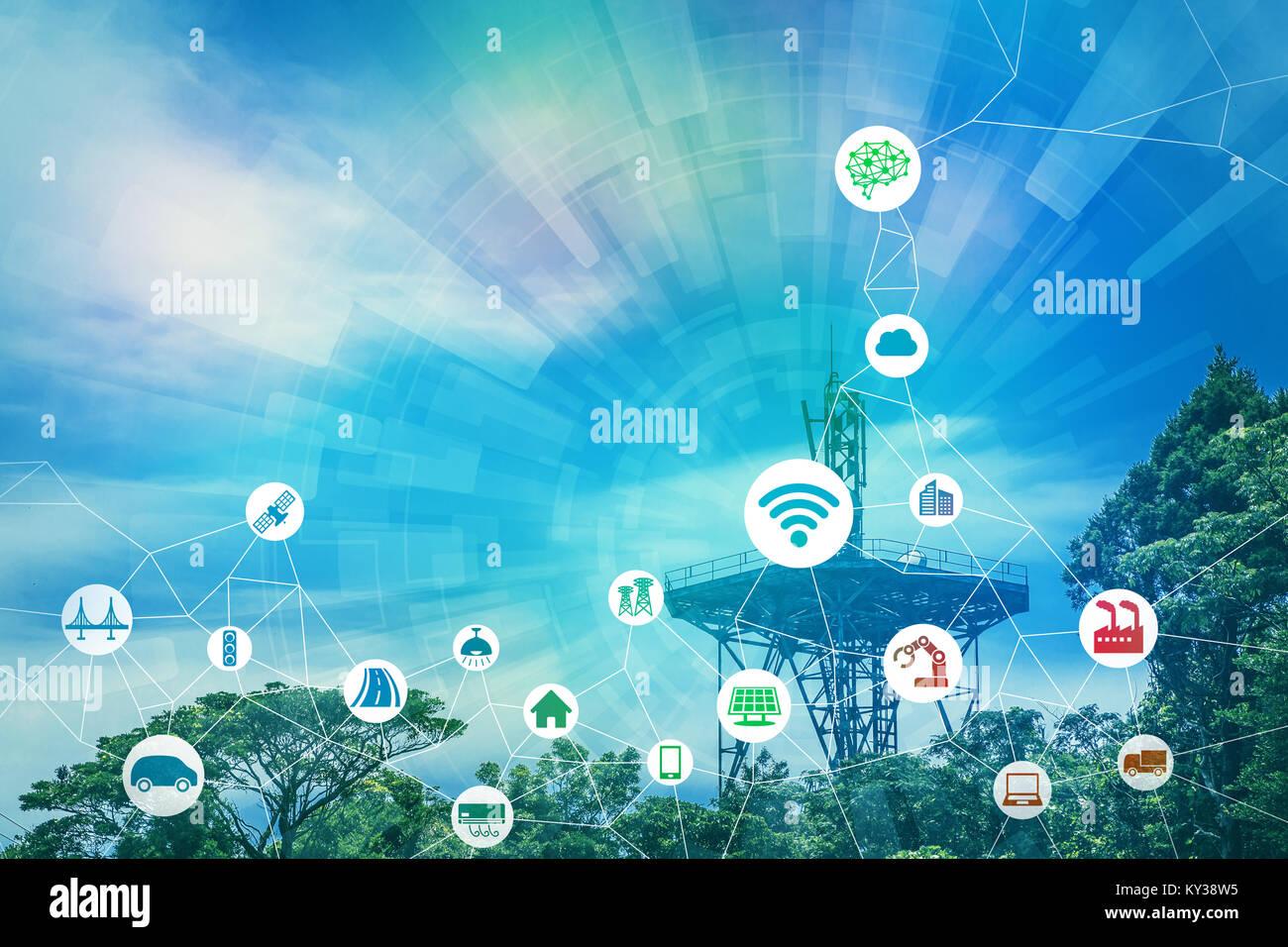 Rete di comunicazione senza fili e varie concetto di settore. Immagini Stock