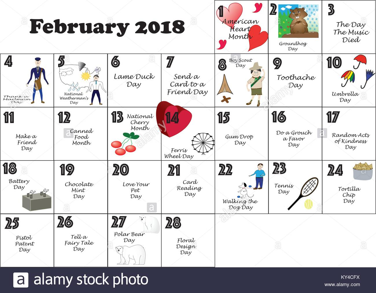 Calendario Con Festivita.Febbraio 2018 Calendario Illustrato E Annotata Con Daily