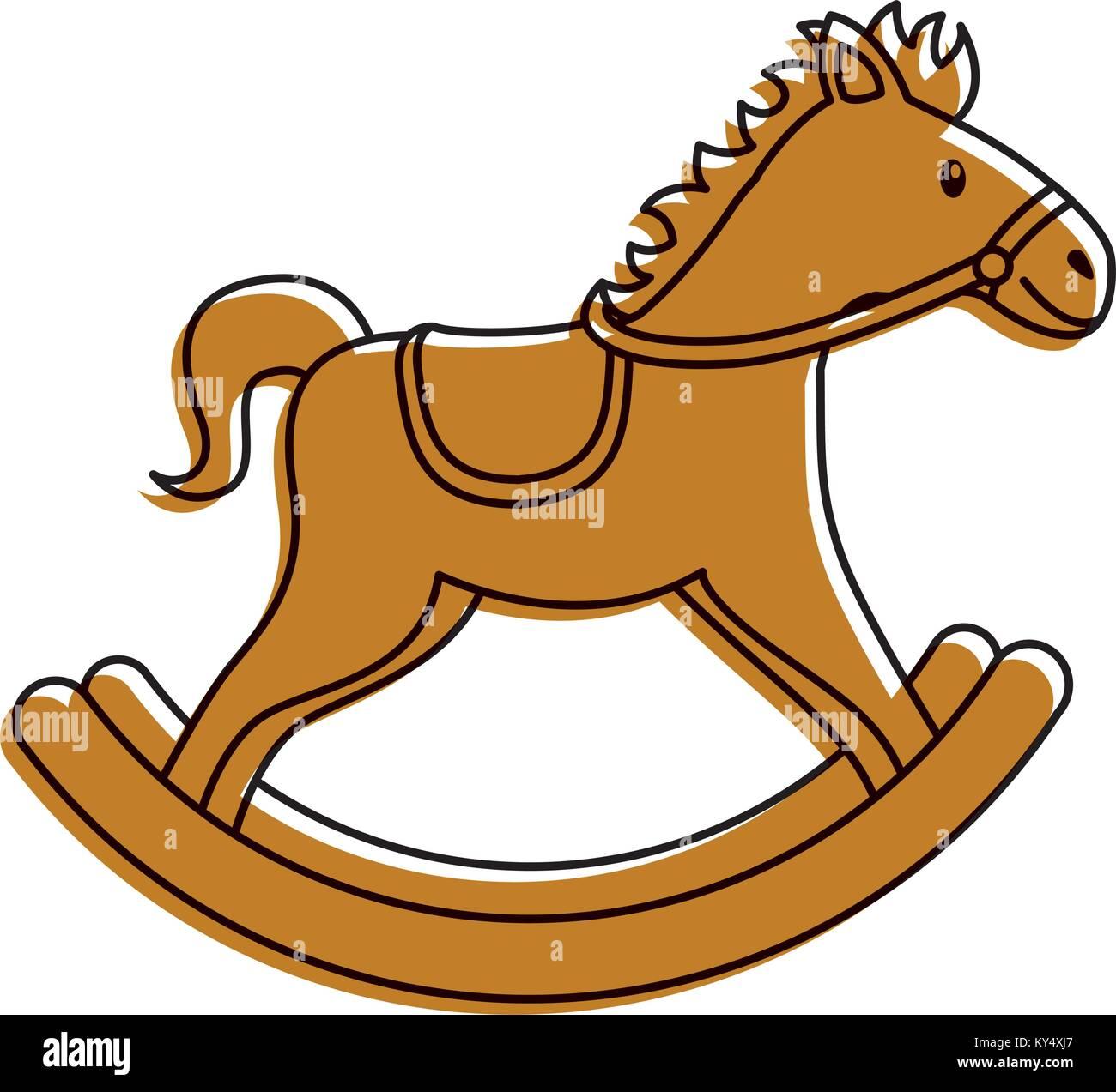 Cavallo Di Legno Giocattolo.Cavallo Di Legno A Dondolo Giocattolo Game Icona Illustrazione
