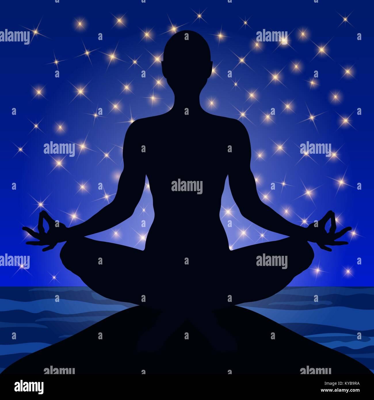 Yoga La Figura Di Un Uomo Seduto In Una Lotus Pongono Contro Lo