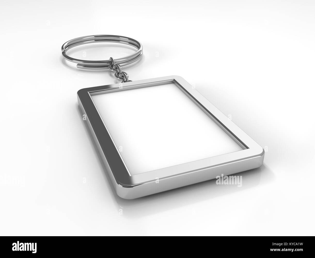 3D rendering illustrazione di un fustellato portachiavi di metallo con un anello per una chiave, isolato su un sfondo Immagini Stock