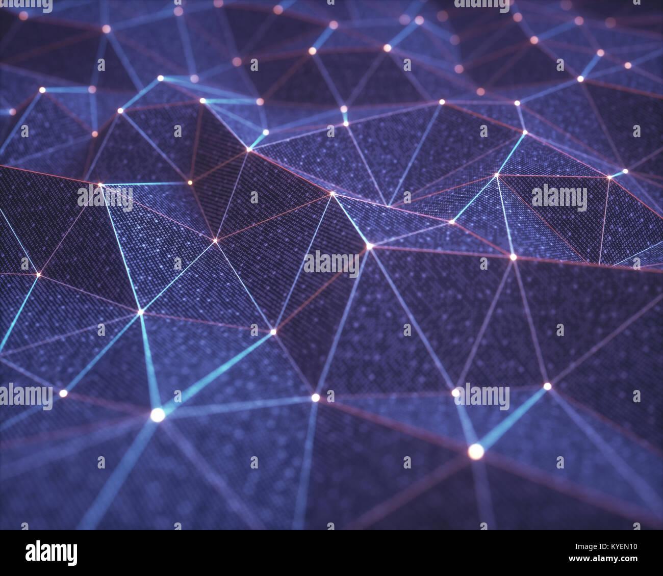 3D'illustrazione, sfondo astratto, concetto tecnologico. Le superfici di binari interconnessi da collegamenti Immagini Stock