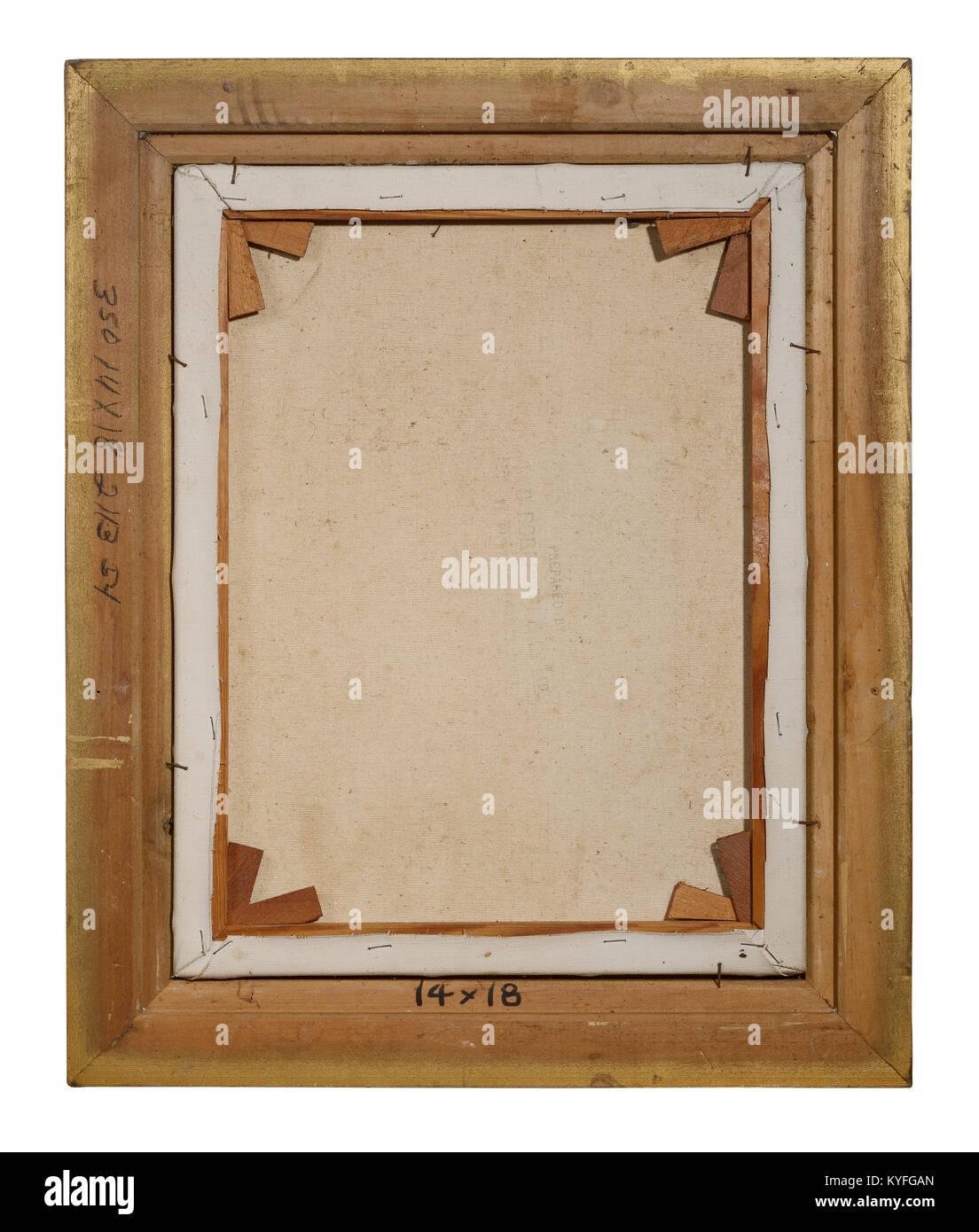 Inversione di una cornice per una pittura a olio su tela di canapa Immagini Stock