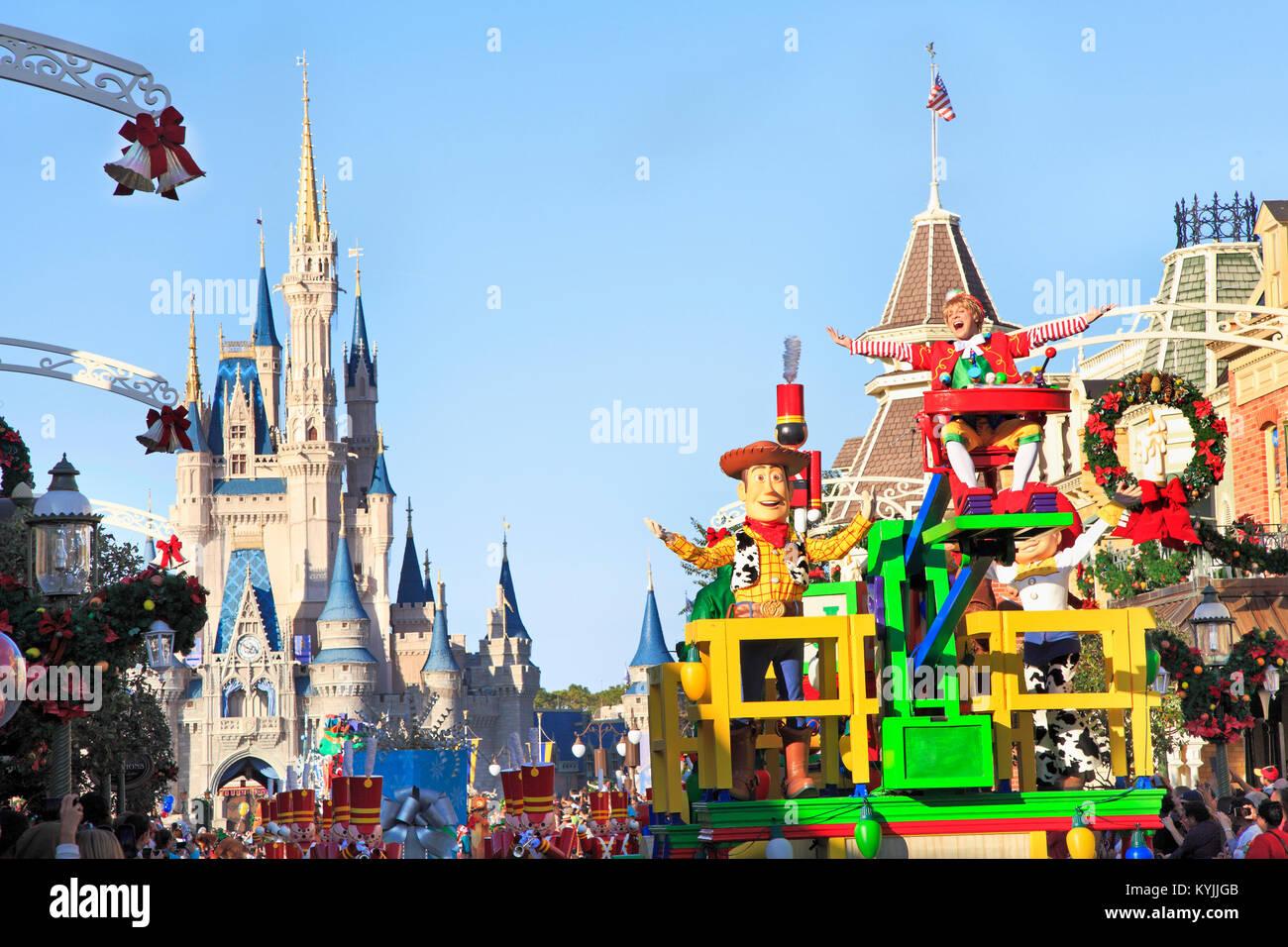 Parata natalizia di Magic Kingdom, Orlando, Florida Immagini Stock