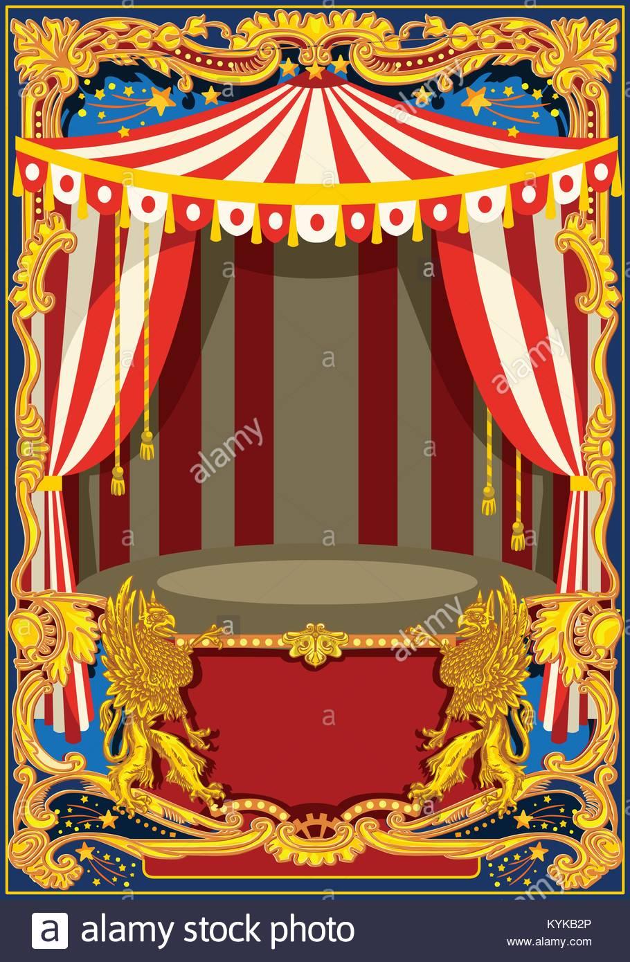 Carnevale modello poster. Circus vintage tema per bambini festa di