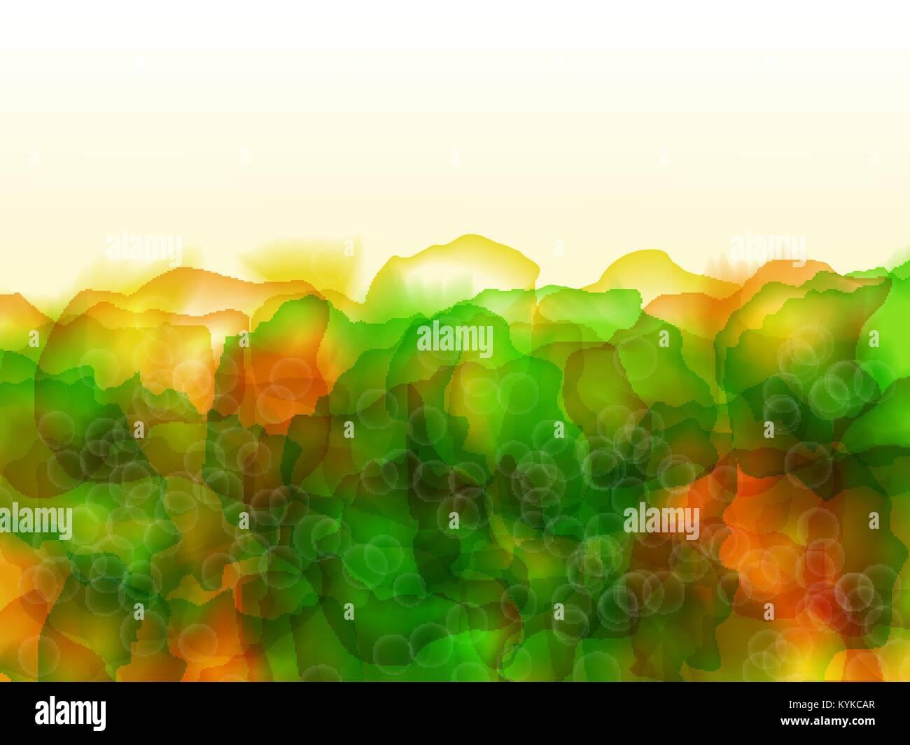 Vettore Di Colore Brillante Acquerello Sfondo Verde E Arancione