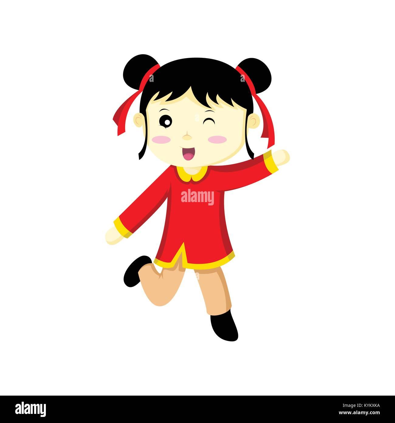 c1d31ba86d Felice carina ragazza cinese Wink illustrazione vettoriale Graphic Design  Immagini Stock