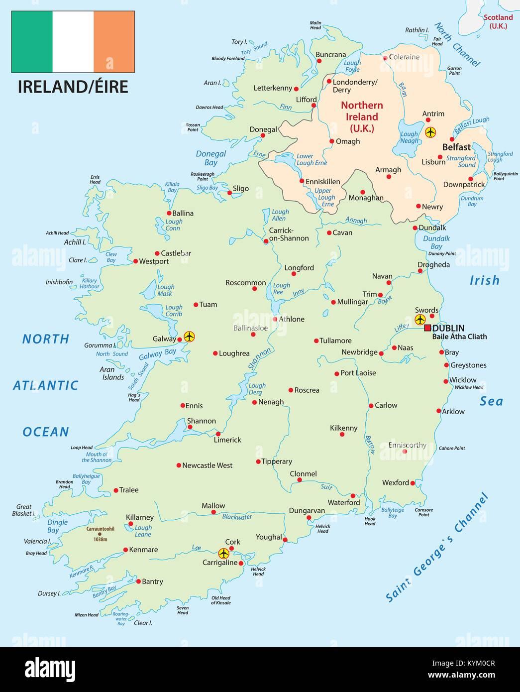 Cartina Geografica Dell Irlanda.Repubblica Di Irlanda Mappa Vettoriale Con Bandiera Immagine E Vettoriale Alamy
