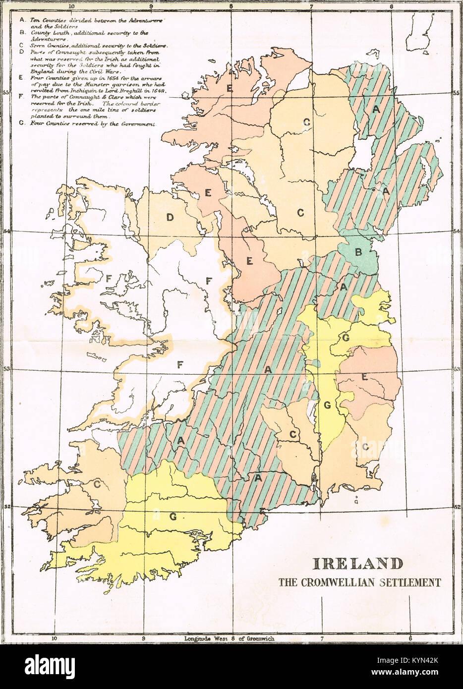 Mappa del Cromwellian insediamento di Irlanda, 1652 Immagini Stock
