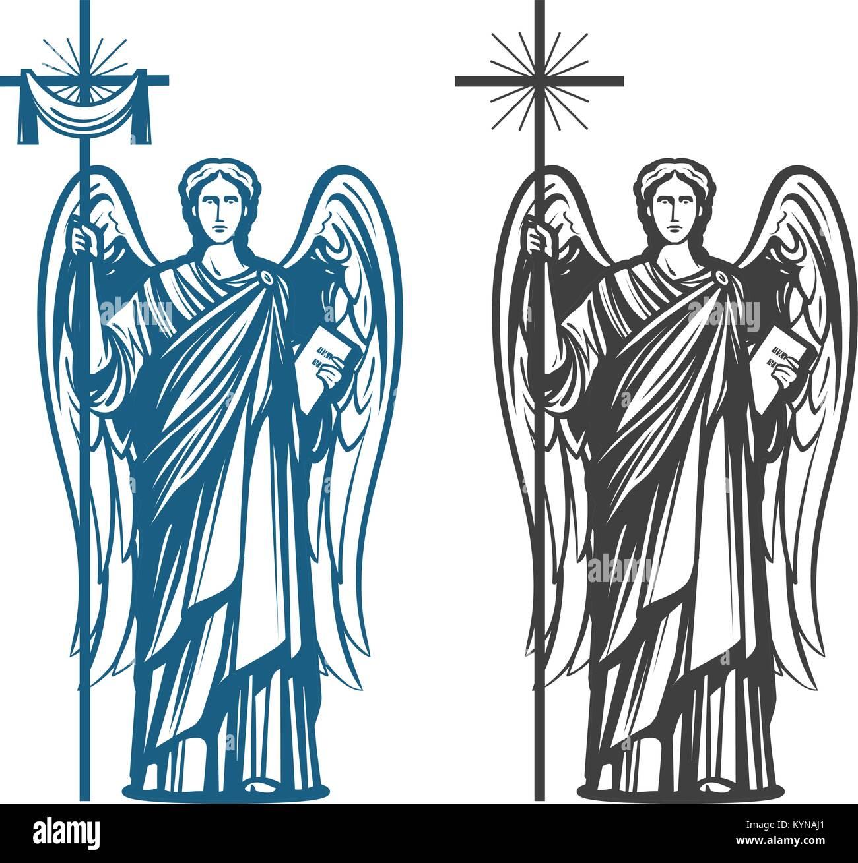 Angelo, Arcangelo con le ali. La Bibbia, religione, convinzioni personali, il culto del concetto. Schizzo Vintage Immagini Stock