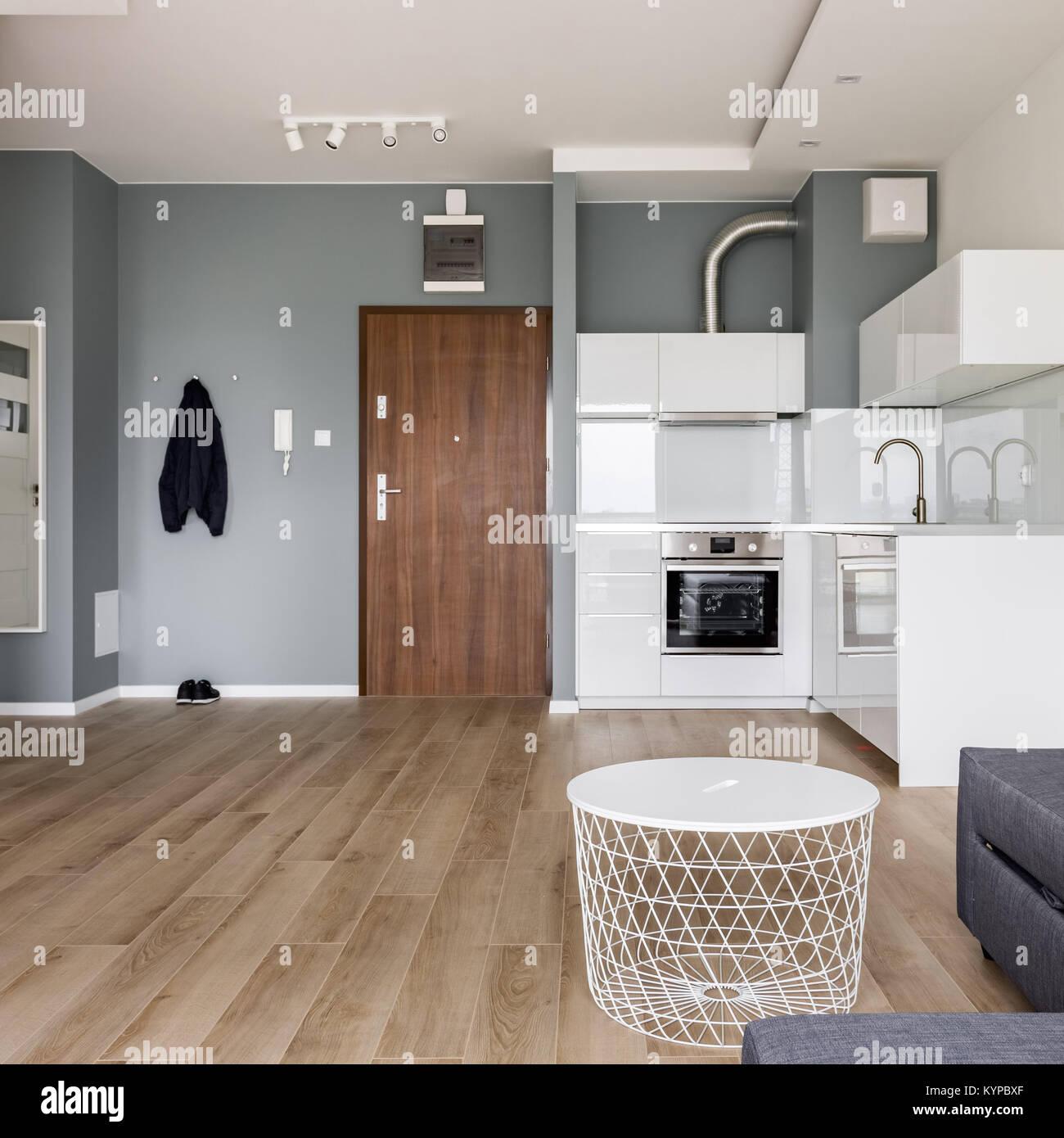 Studio moderno appartamento con piccola cucina bianca, corridoio e ...