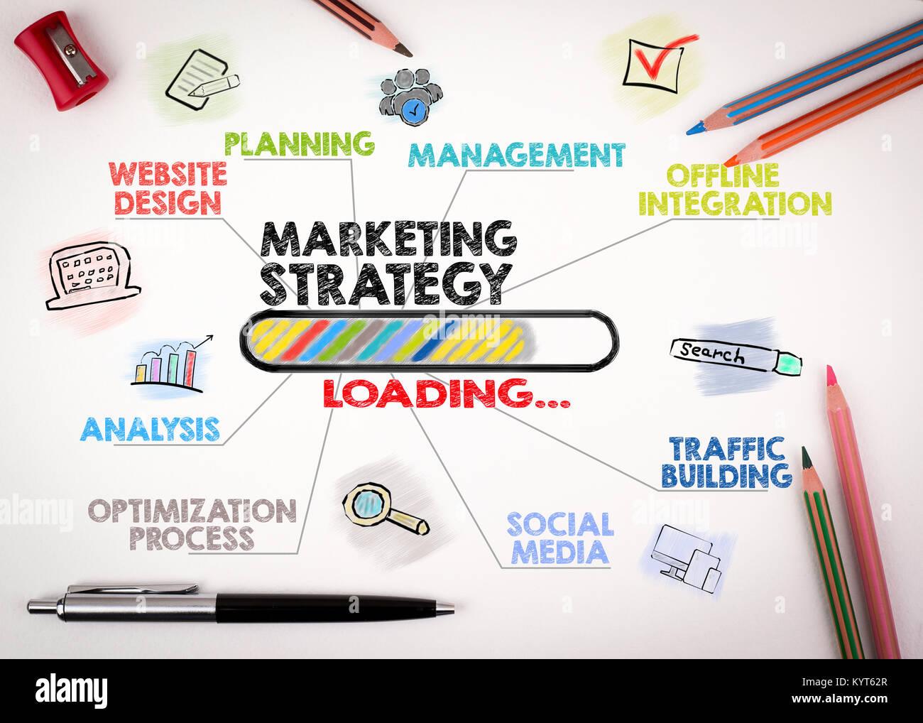 Strategia di commercializzazione di concetto. Grafico con le parole chiave e le icone su sfondo bianco Immagini Stock