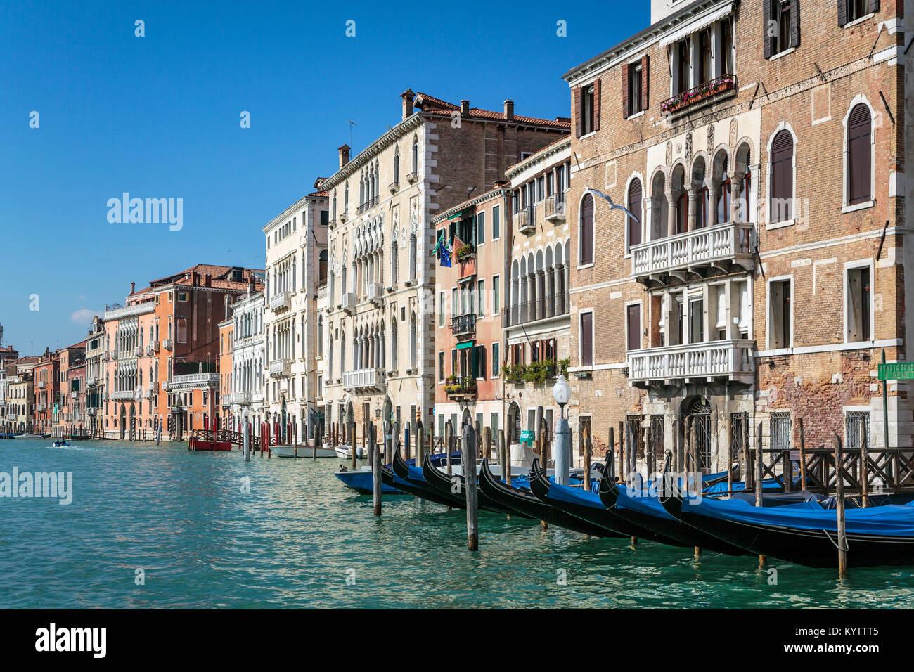 Edifici e barche lungo il Canal Grande in Veneto, Venezia, Italia, Europa Immagini Stock