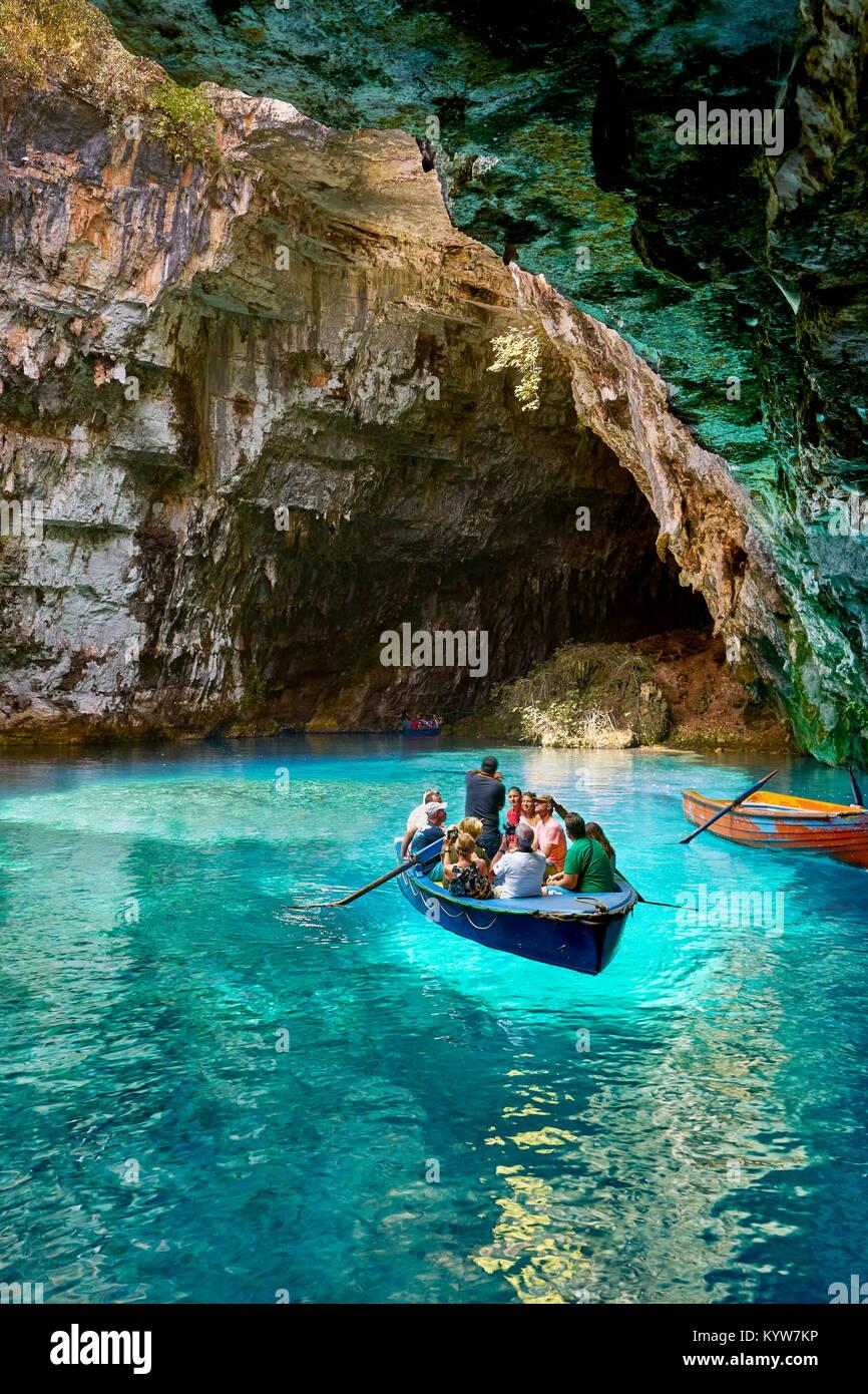 Melissani Grotta, l'isola di Cefalonia, Grecia Immagini Stock