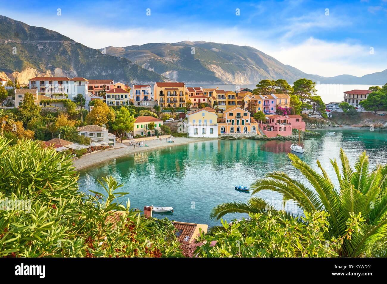 Assos village, l'isola di Cefalonia, Grecia Immagini Stock